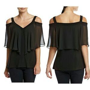 MSK Cold-shoulder Flutter Sleeve Black Top Blouse